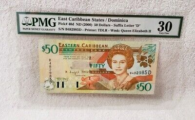 """East Caribbean States/Dominica Pick# 40d ND 2000 $50 Dollars """"D"""" PMG 30 VF"""