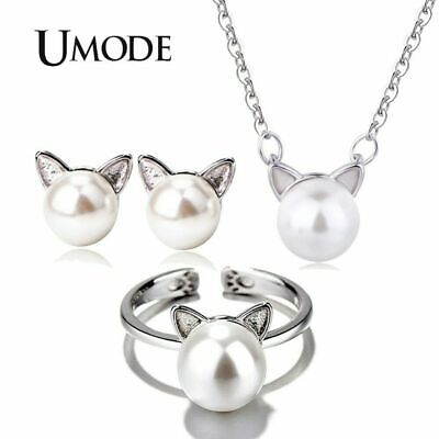 UMODE Girls Kids Cute Cat Ear Pearl Stud Earrings Adjustable Rings Chain
