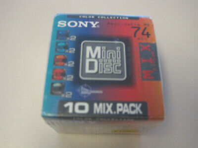 Sony MiniDisc 10 Pack 74 min, Color Mix, Factory Sealed, NEW !!!