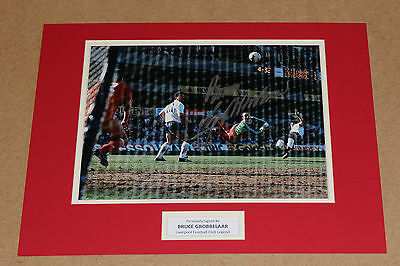 Hand Signed Bruce Grobbelaar In Liverpool Shirt Autograph Photo Mount + Coa