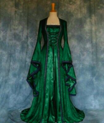 New Green Gothic Medieval Velvet Corset Front Dress Cosplay size 4XL 20 22 24