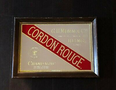Vintage Cordon Rouge Champagne Tavern/Bar Mirror Sign Advertising Man Cave