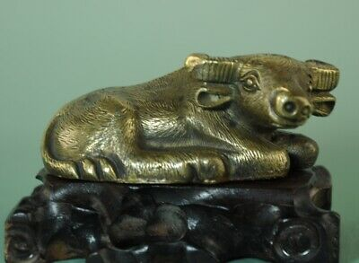 china old folk collection copper handmade Chinese zodiac cow statue B02E
