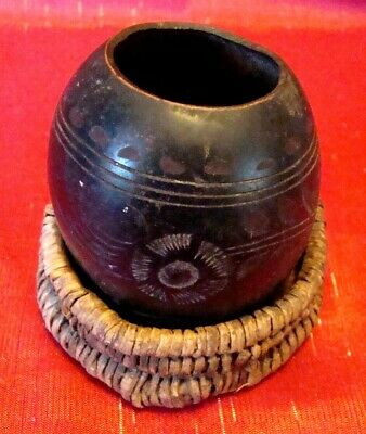Primitive - Yerba Mate - Carved Calabash Gourd - Argentina - Wicker Stand - L@@K
