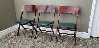 Wood Folding Chairs Set of 3 Antique Carrom Company Ludington Michigan Cherry