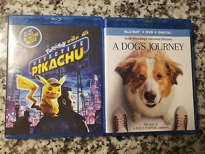 Pokemon Detective Pikachu A Dog's Journey Blu Ray Dvd Lot NO DIGITAL