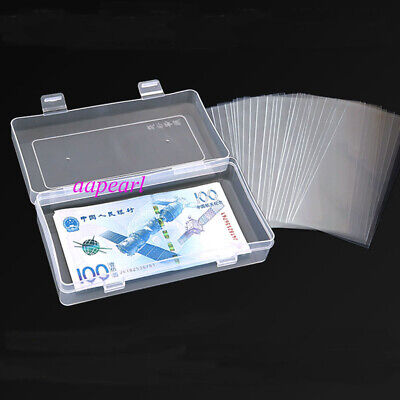 100pcs Currency Paper Money Bill Sleeves Holders Protector 8.5*17.5cm JB
