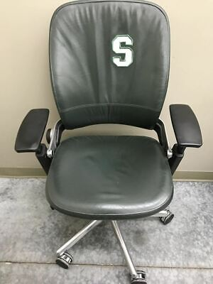"""Steelcase Leap Green Leather Chair With Customized Spartan """"S"""""""