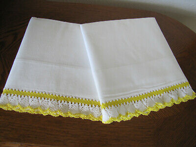 Vintage Pair Of White Pillowcases Embroidered Crocheted Yellow White Crocheted