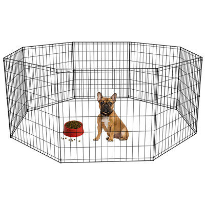 24in Black Tall Dog Playpen Crate Fence Pet Kennel Play Pen Cage -8 Panel