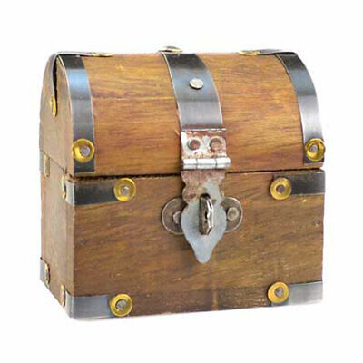 """Mini Pirate Treasure Chest 3"""" Domed Lid Antique Style Wooden Trinket Box"""