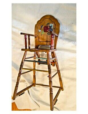 RARE antique High Chair- solid cherry- late 1800' with drop down potty play bead