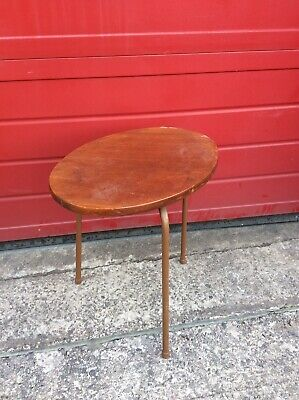 Vintage Wooden, Metal Legs Coffee Table Side Upcycling Mid Century Retro Project