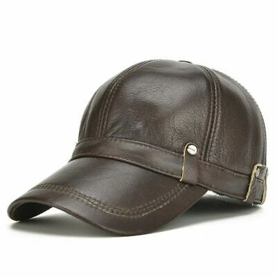 [AKIZON] Leather Hat Men 100% Leather Baseball Cap with Ears Flap Dad Hats