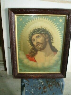 Antique Wooden Picture Frame 60cm x 50cm with Religious Picture