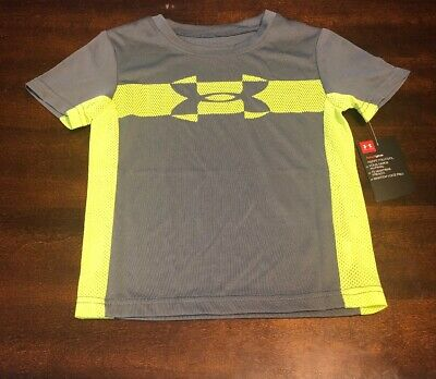 New Toddler Boys Under Armour Heat Gear Graphite T-shirt Size 3T