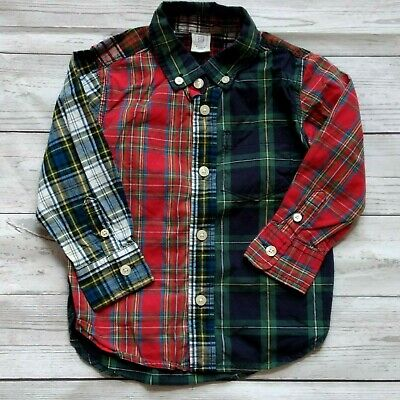 BABY GAP Long Sleeve Button Up Plaid Cotton Shirt RED & NAVY Boy's Size 2 Years