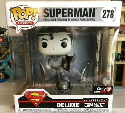 Funko Pop! DC Heroes Deluxe - Superman #278 Jim Lee Gamestop Excl BLK AND WHITE