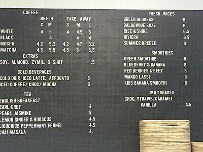 Peg board with letters - great for cafe