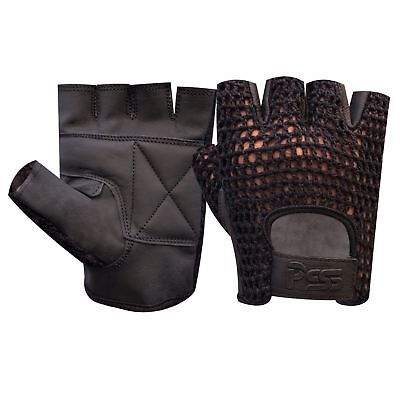 Mesh Leather Padded Weight Lifting Gym Gloves Fitness Cycling Wheel Chair - 405