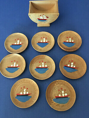 Vintage Japanese Lacquer Ware Wood Drink Coasters + Holder Ships  9 pc set