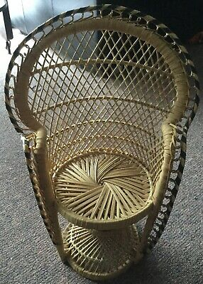 Cane/Wicker Doll Chair Or Pot Stand 1