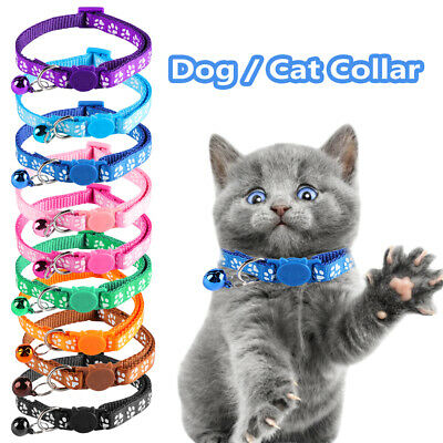9 Color Nylon Fabric Cat Dog Pet Collar With Bell Footprint Pattern Kitten Puppy