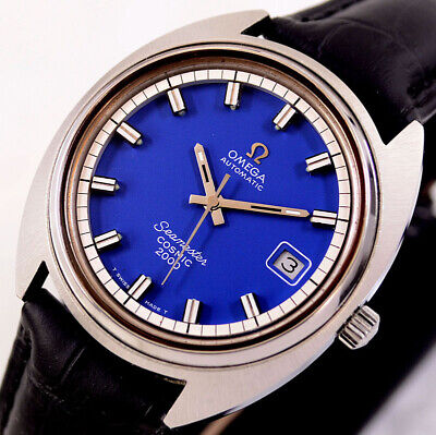 Vintage Omega Seamaster Cosmic2000 Automatic Date Blue Dial Men's Watch