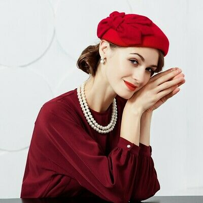 Ladies Felt Wool Fascinator Pillbox Wedding Bridal Beret Hat Headpiece CK015