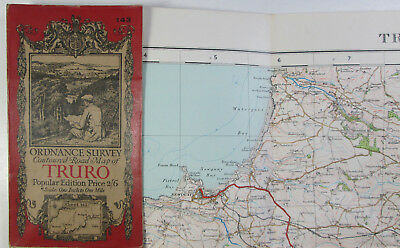old 1926 OS Ordnance Survey one-inch Popular Edition Map 143 Truro & St Austell