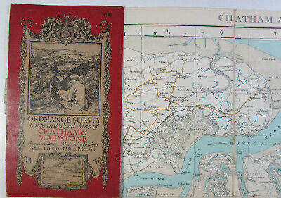 old 1921 OS Ordnance Survey one-inch Popular Edition Map 116 Chatham Maidstone