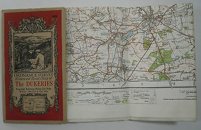 1928 old vintage OS Ordnance Survey one-inch Popular Edition Map 46 The Dukeries