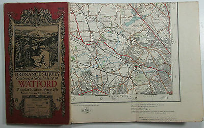 1920 old vintage OS Ordnance Survey one-inch Popular Edition Map 106 Watford