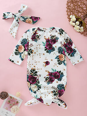 CA Infant Newborn Baby Girls Long Sleeve Flower Romper Clothes Outfit Sleep Bag