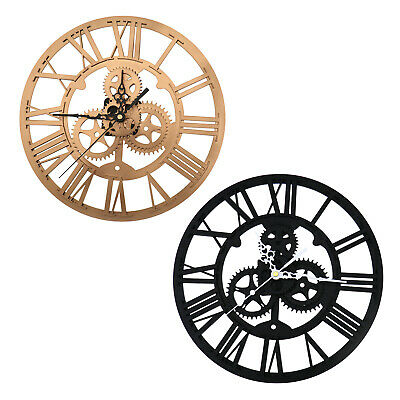 30cm Black/Gold Skeleton Gear Numeral Wall Clock Round For Steampunk Home Decor