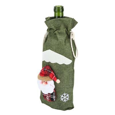 Quality Cute Red Wine Bottle Cover Drawstring Bag Christmas Decoration Supplies