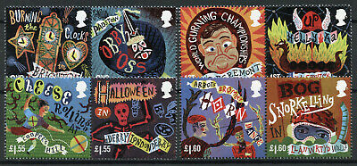 GB 2019 MNH Curious Customs 8v Set in Pairs Halloween Cultures Traditions Stamps