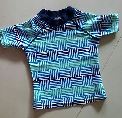 Baby Boy Size 0 Wave Rat Summer short Sleeve Rash Vest Swimwear NWOT'S.