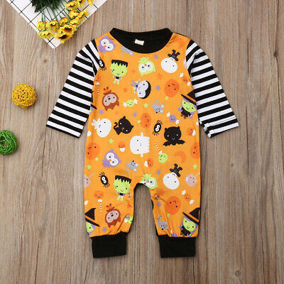 Toddler Baby Boy Girl Halloween Romper Long Sleeves Fall Jumpsuit Holiday Outfit
