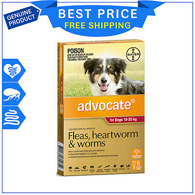 Advocate for Dogs 6 Pipettes 10.1 to 25 Kg RED Pack Flea Heartworm Worm Control