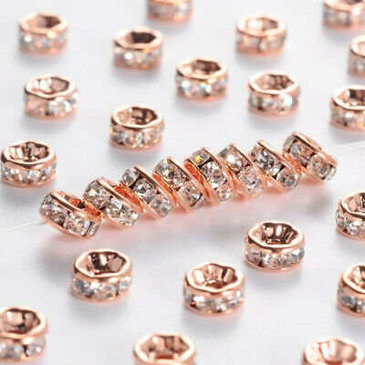 20/200pcs Crystal Rhinestone Paved Rondelle Spacer Beads for 6mm  Jewelry Making
