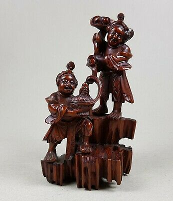 19Th C,Qing, Fine Antique Chinese Boxwood Carving Of He-He Er Xian Twins
