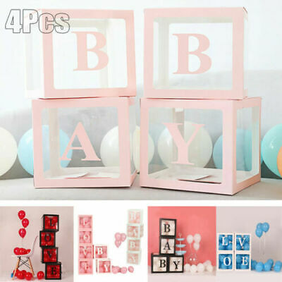 4pcs Transparent Balloon Box Girl Boy Baby Shower Birthday Party Wedding Decor