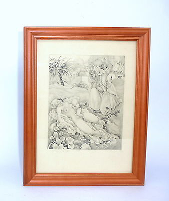 Erotic Art Etching um 1910 Autographed