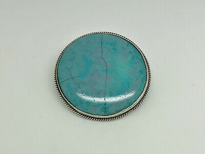 Antique Arts & Crafts Sterling Silver Signed RUSKIN Blue Pottery Cabochon Brooch