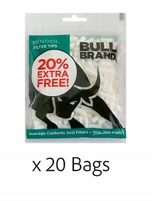 6000 Tips (20 x 300) Bull Brand Slim Menthol Filter 6mm Rolling Not Swan Filters