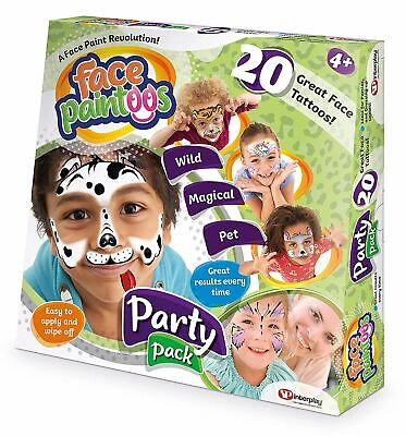 Face Paintoos Party Pack, Temporary Face Paint Tattoos