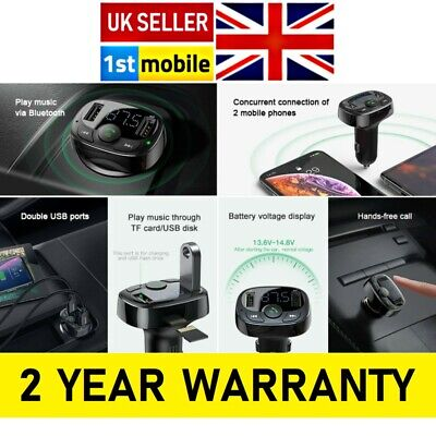 Dual USB Car Charger, Handsfree Phone and MP3 Music Player. GENUINE Baseus