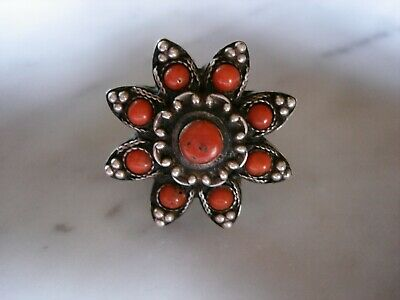 Vintage Antique Coral Cluster Sterling Silver Tibet Tibetan Chinese Ring