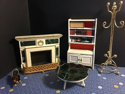 """Dollhouse Furniture Lot 7 Pc 1:12 Hutch Green """"marble"""" Fireplace Table  DH2M"""